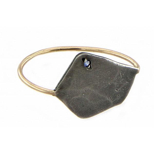 Πεντάγωνο Δαχτυλίδι με Ζαφείρι και χρυσή γάμπα
