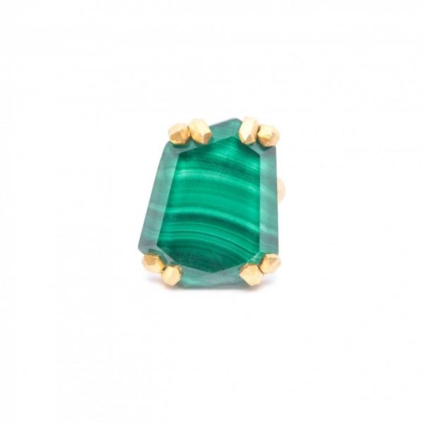 Δαχτυλίδι με Μαλαχίτη-Χαλαζία