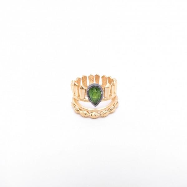 Επιχρυσωμένο Δαχτυλίδι με Jade