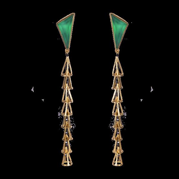 Σκουλαρίκια με Πράσινο Αχάτη