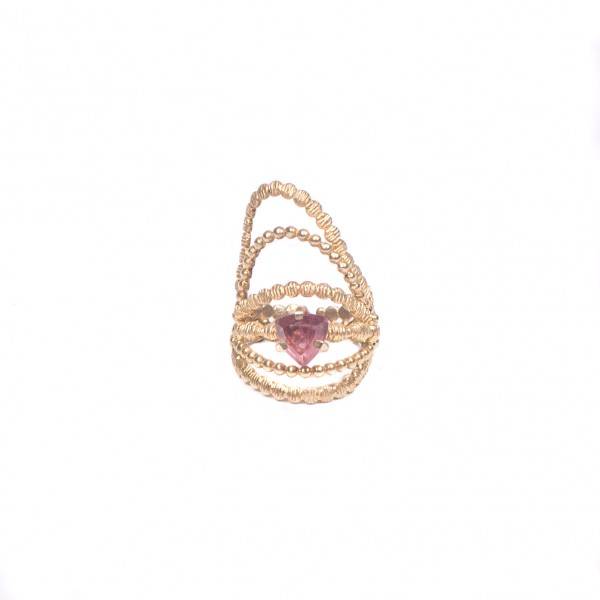 Επιχρυσωμένο Δαχτυλίδι με Ροζ Τουρμαλίνη