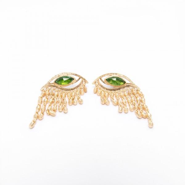 Σκουλαρίκια με Jade και Χαλαζία